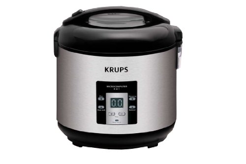 KRUPS RK7009 4-in-1 Slow Cooker 5-Cup Rice Cooker Steamer and Oatmeal Cooker with Stainless Steel Housing, Silver