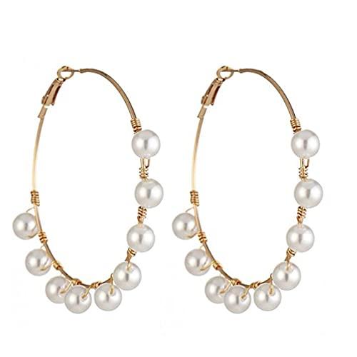 LPOQW Pendientes de perlas anillo redondo pendientes de aro joyería pendientes pendientes pendientes pendientes pendientes pendientes gancho de oreja regalo para mujeres niñas señoras,E5478