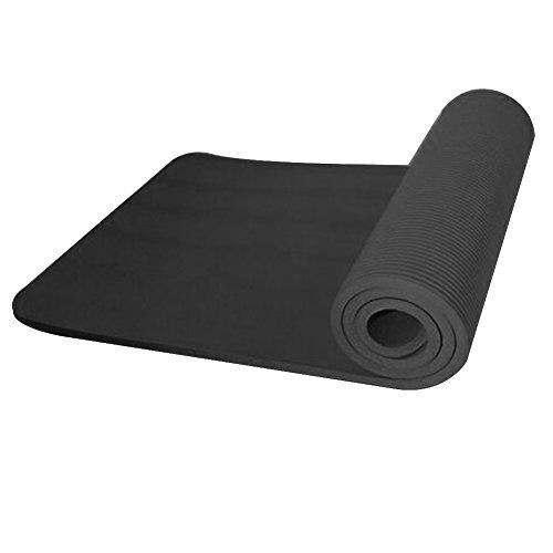 Dire-wolves - Tappetino per yoga, 10 mm, super morbido, extra spesso, antiscivolo, per esercizi, fitness, palestra, pilates, Donna, Nero , 183x61x1cm