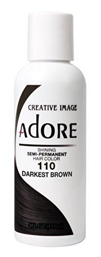 Adore Semi-Permanent Haircolor #110 Darkest Brown 4 Ounce (118ml) (AD-110)