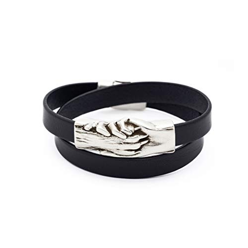 Silver-Plated Hand and Dog Paw Symbol Flat Bracelet, Genuine Leather Bracelet for Women and Men, Magnetic Clasp, Ideal for Pet Lovers and Pet Memorial, Dyed Leather, Black, Medium