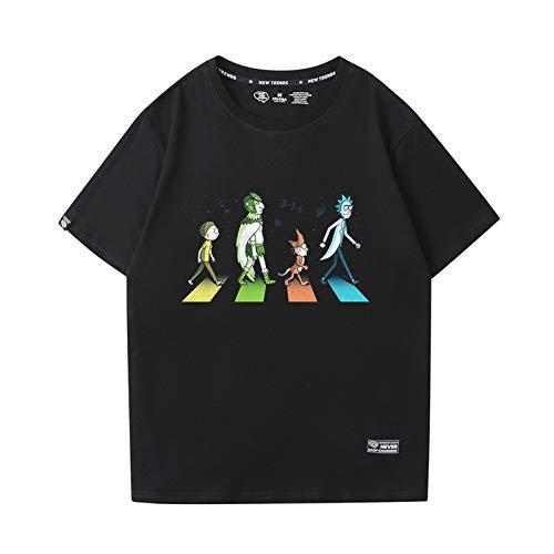 GRTBNH Camiseta Hombre Manga Corta Cuello Redondo, Rick y Morty Estampado Unisex Camisetas Casuales Tops,Style 2,XXL