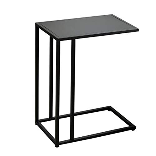 EVFIT Leisure Coffee Table C Shaped Side Table,Sofa End Table for Small Space,Snack Coffee Laptop Table Living Room,Bedroom,Easy Assembly (Color : Black, Size : 48x28x58cm)