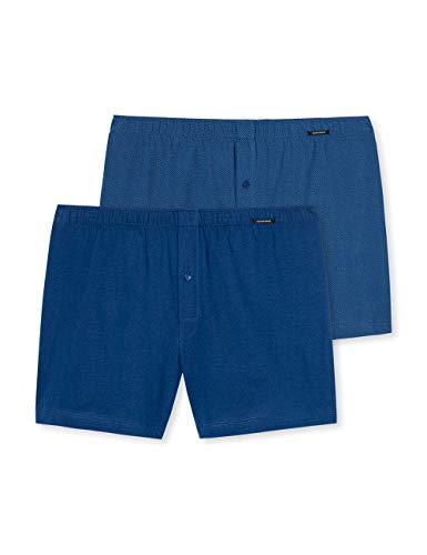 Schiesser Herren Boxershorts weiche Baumwolljersey (2er Pack), Blau (Blau 800), M