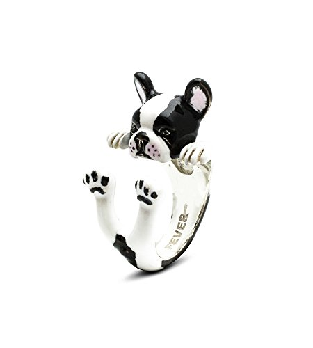 Dog Fever - Anillo Custom Hug de plata esmaltada con diseño de bulldog francés