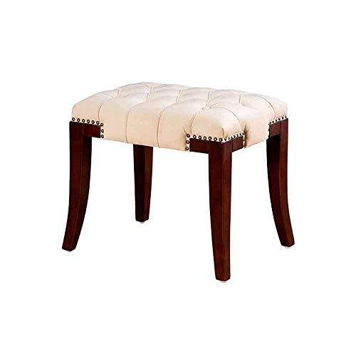 XIANWEI Dressing Stool Dressing Table Makeup Stool Solid Wood Modern Bedroom Soft Bag Dressing Makeup Chair Portable Storage Footstool Does Not Take up Space,Flannel