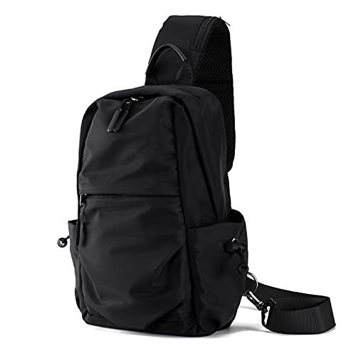 Men Women Shoulder Backpack Water Resistant Sling Chest Crossbody Bag Hiking Walking Travel Pack Cycling Daypack Black