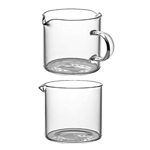 Cabilock 2 Stück Milchkännchen Sauciere Milchkanne Messbecher Sahnekanne Mini Glas Krug Doppelm& Einzelm& Kaffee Milch Tasse Glaskanne Messkanne für Eier Milch Sahne Sauce Kaffee