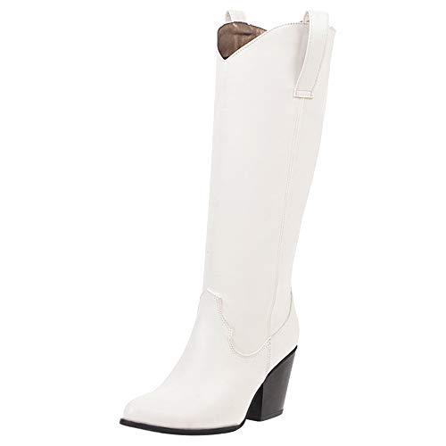 Garggi Knee Cowboystiefel Warm Damen Blockabsatz Pointed Toe Westernstiefel Ohne Verschluss Chunky Boots Klassischer Winterstiefel Weiß Gr 41 Asiatisch