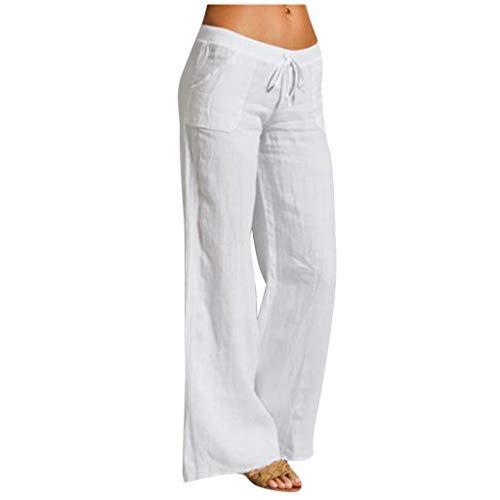 Limsea Clearence Sale! Women's Wide Leg Pants 2021 Summer Cotton Linen Elastic Waist Drawstring Trousers Casual Relax Fit Harem Sweatpants White