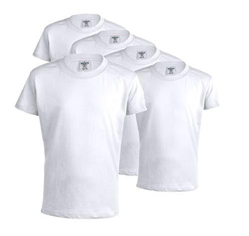 Camisetas 100% Algodón (Pack 5) Unidades para niños, Camisetas Mod Keya 150gr/m2- Manga Corta (Blanco, S(7-8))