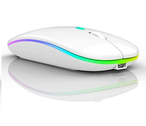 LED Wireless Bluetooth Mouse,Wireless Mouse for MacBook Pro,Wireless Mouse for MacBook Air,Rechargeable Bluetooth Mouse for Mac,MacBook Air, MacBook pro,ipad,ipad Pro (White)