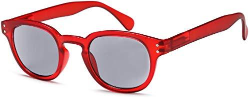 NEWVISION®,Occhiali Premontati da Lettura,100% di Protezione dai Raggi UV,Occhiali Presbiopia Lenti Scuro per Uomo e Donna,Cerniera a Molla,NV1140-SG (+1.50, rosso)