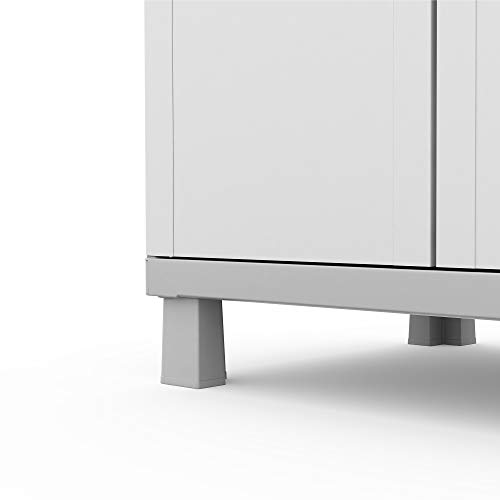 Keter Storage Cabinet with Doors and Shelves for Tool and Home Organization, White & Grey