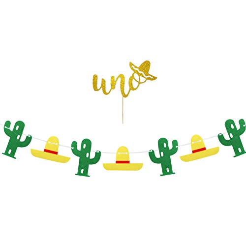 BESPORTBLE 2pcs Cactus Fiesta Banner Mexican First Birthday Cake Topper Tropical Theme Bunting Sign Garland Photo Props for Hawaii Cactus Party Supplies