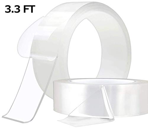Traceless Washable Adhesive Tape,Reusable Clear Double Sided Anti-Slip Nano Gel Pads Removable Sticky Strips Grip (1M(3.28ft))
