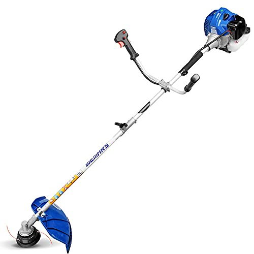 WEMARS 42.7CC Gas String Trimmer 2-Cycle Gas Brush Cutter Straight Shaft 2 in 1 Cordless Grass Edger Weed Wacker Gasoline Powered Weed Eater (WS-ST42G)