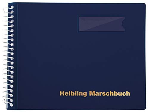 Helbling BMB25 Marschbuch (Notenbuch mit 25 blendfreien Klarsichthüllen, Umschlag aus flexiblem Kunststoff, bruchsichere Spiralbindung, wetterfest, Querformat: 18 x 14 cm) blau