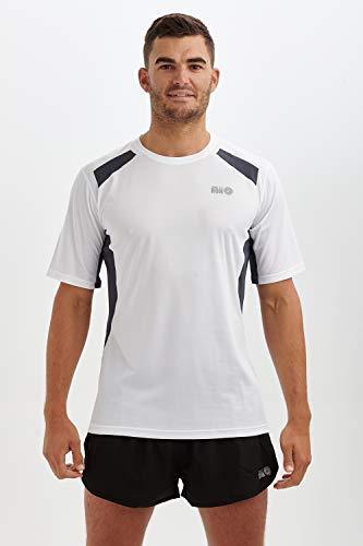 Time To Run Pace Spirit Quick Dry T-Shirt de Course à Pied/Courir/Gym/Exercice pour Hommes à Manches Courtes Grande Blanc/Gris Charbon