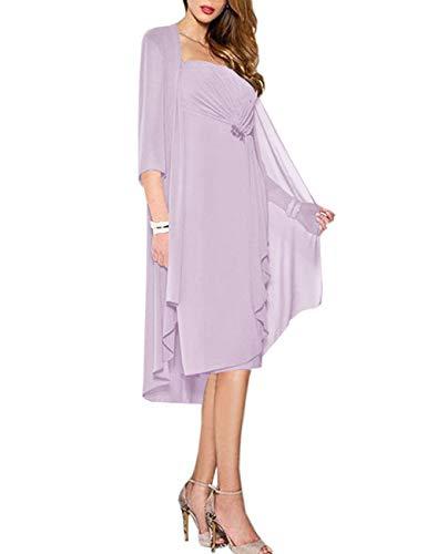 HUINI Brautmutter Kleider mit Jacke Wadenlang Chiffon Perlen Hochzeitskleid Abendkleid Ballkleid Festkleider Lila