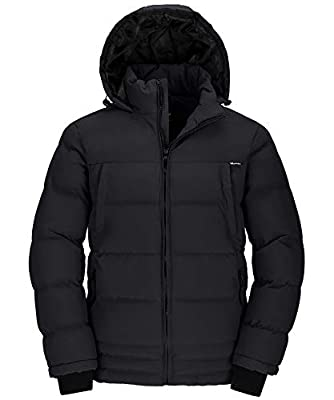 Wantdo Men's Winter Warm Puffer Coat Insulated Jacket with Hood Black Large by