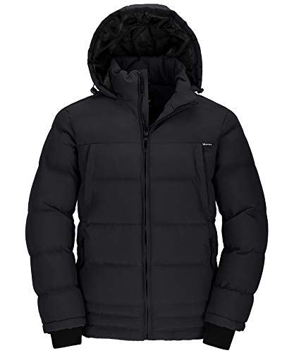 Wantdo Men's Windproof Warm Puffer Jacket Insulated Winter Coat Black X-Large
