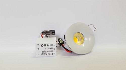 GRG Faretto LED COB 3W da incasso, luce bianca calda, punto luce compatto D 40 mm.