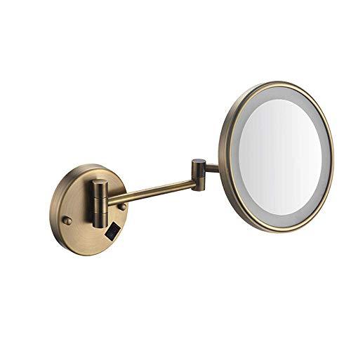 NHLBD LIHAIHAI Beautiful Fashion 3X Ampliación Montado en la Pared Espejo de tocador Iluminado LED Iluminado 8 Pulgadas de Espejos de Maquillaje de Doble Cara impulsado por Carga (Color : E)