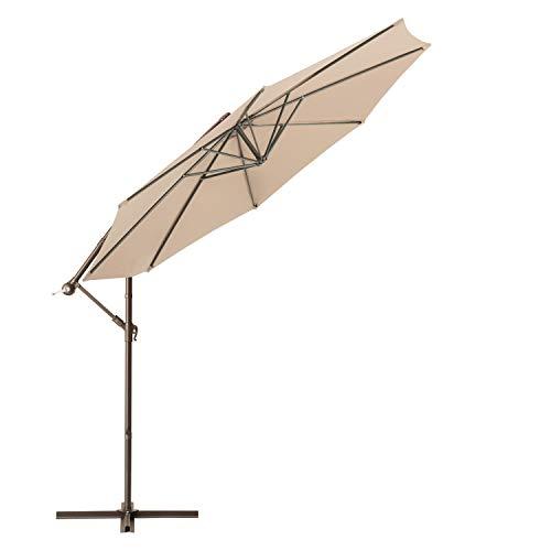 Lurasel 10ft Offset Umbrella,Cantilever Patio Umbrella Outdoor Hanging Umbrellas with Crank & Cross Base (10ft,Beige)