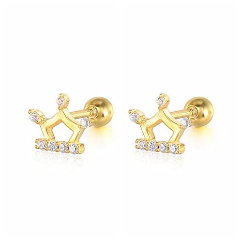 XAOQW 1 par de Pendientes de botón de Plata de Ley 925 auténtica, Pendientes de perforación de circonita de Cristal para Mujer, joyería de Oreja, Pendientes-Q3