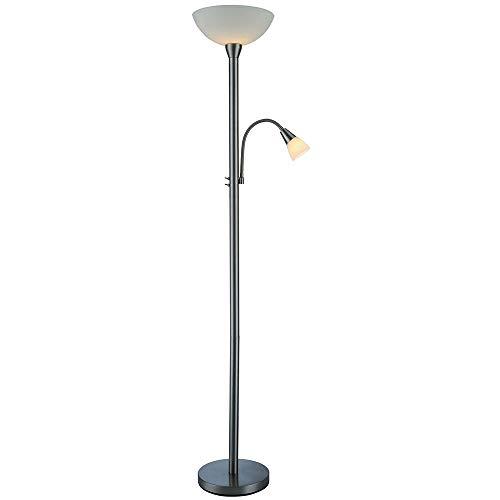Dapo LED-Glas-Deckenfluter-Stehleuchte-Standleuchte Mattis Fassung E27 8Watt mit Leseleuchte E14 4Watt Nickel Glas weiß inklusive Leuchtmittel Energieklasse A++