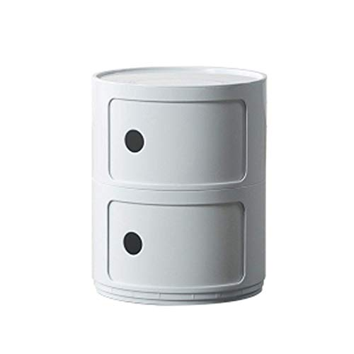 YLKCU Bedside Tables Round Multi Layer Storage Shelf Mini Coffee Table Bedroom Side Cabinet Nightstand Locker Creative Home Decor(Color:white,Size:Double layer)