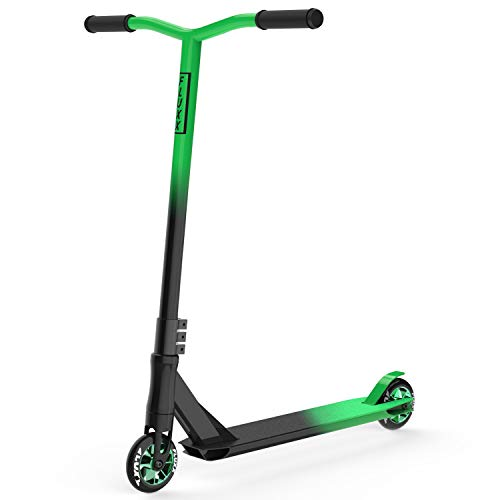 Fluxx SSX Pro Stunt Scooter, Best Entry Level Trick Scooter with 100mm Aluminum Alloy Rim PU Wheels, Lightweight BMX Freestyle Kick Scooter for Beginners Kids 8 Years and Up (Green)