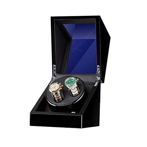 SPAQG Nieuwe Horloge Winder, Automatische Horloge Winder met Stille Motor, Gebruikt voor 2 Horloges, Set met 5 Roterende modi, Gemaakt van Piano Verf en Kwaliteit PU, Verstelbaar Horloge Kussen voor Dames en Heren