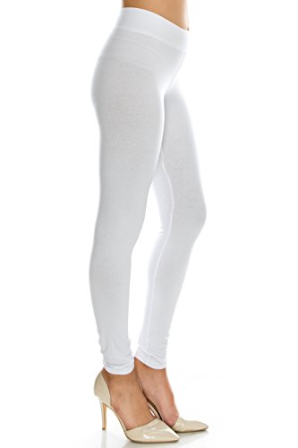 Cotton Spandex Basic Knit Jersey leggings womens White M