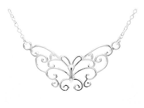 Goldwinter Echte 925 sterling zilveren ketting handgemaakte zilveren vlinder Choker met zwarte sieradendoos