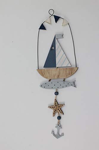 Unbekannt Boot-Hänger aus Holz Mediteran mit Boot, Seestern, Anker und Perlen