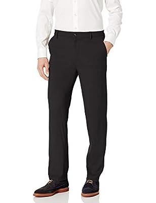 Van Heusen Men's Air Straight Fit Flat Front Dress Pant, Black, 30W x 30L by Van Heusen Men's Sportswear
