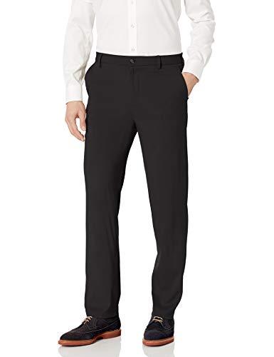Van Heusen Men's Air Straight Fit Flat Front Dress Pant, Black, 34W X 32L