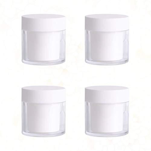 CLISPEED 4Pcs Leere Plastikboxen Tragbare Reise Aufbewahrungskoffer Nachfüllbare Make-Up-Behälter für Creme Lippenbalsam Loser Puder Lidschatten 50G (Weiß)