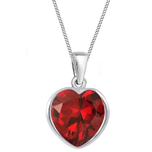 Zirkonia Herz Anhänger mit Kette 925 Echt Sterling-Silber Mädchen Kinder Baby Damen Set CZ Halskette (M9 / Granat Herz 10mm, 38)