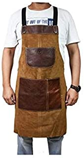One Size Fits Utility Apron   Adjustable Cross-Back Straps   Multi-Use Shop Apron With Tool Pockets By Aaron Leather (Leather - Chestnut)