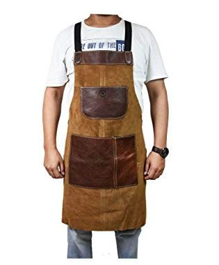 One Size Fits Utility Apron | Adjustable Cross-Back Straps | Multi-Use Shop Apron With Tool Pockets By Aaron Leather (Leather - Chestnut)