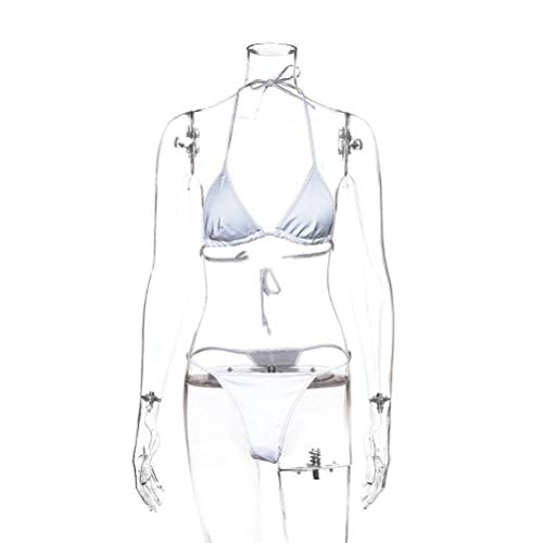 Justtime Reflecterende zilveren bikinii strand oplichtend verdeeld badpak Medium zilver
