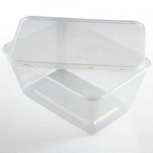 Thali Outlet - Lot de 250 récipients rectangulaires en plastique transparent pour micro-ondes et congélation - 1000 ml