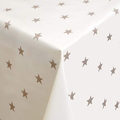 Wachstuch Wachstischdecke Tischdecke Gartentischdecke Sterne Creme Breite & Länge wählbar 140 x 230 cm Eckig abwaschbar Lebensmittelecht