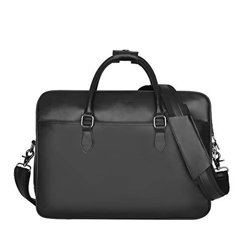 Leathario Herren Echtesleder Aktentasche Handtasche Laptoptasche Umhängetaschen Bürotasche Geräumige Rindsleder Arbeit Muti-Fach für 13 14 Zoll Computer Notebook Tablet schwarz