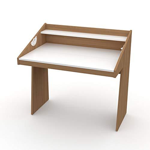 LEVIRA – Escritorio, Mesa de Oficina, Mesa para Trabajo o Estudio, ROM - 100 x 96 - Cerezo Choco y Blanco