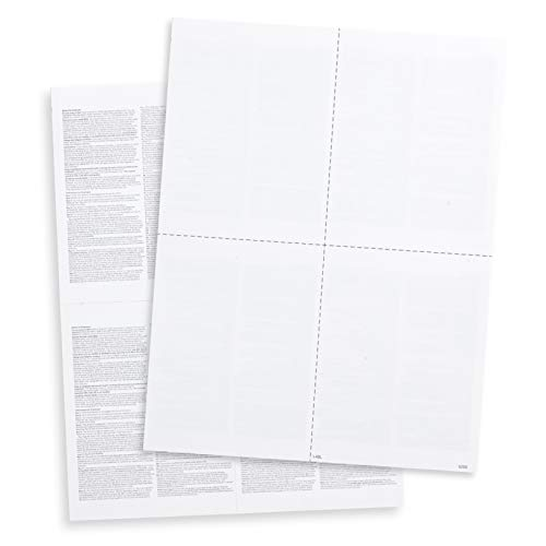 Blank W2 Forms, 2019 4 Up W2 Tax Forms, 100 Employee Forms, Designed for QuickBooks and Accounting Software, Ideal for E-Filing, Works with Laser or Inkjet Printers, 100 Four Part Forms