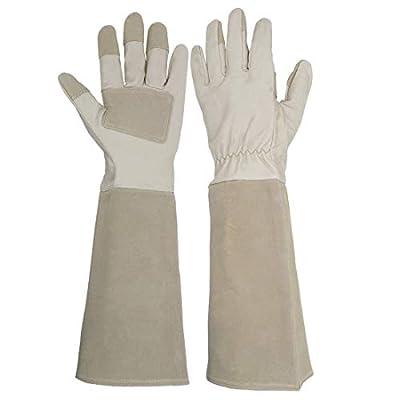 Long Sleeve Leather Gardening Gloves,Rose Pruning Floral Gauntlet Garden Gloves For Women and Men